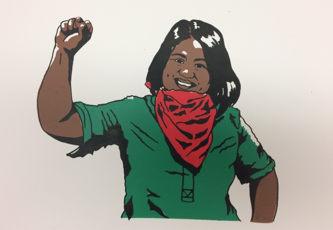 Drawing of Gina Bahiwal during the Justice for Migrant Workers Harvesting Freedom campaign
