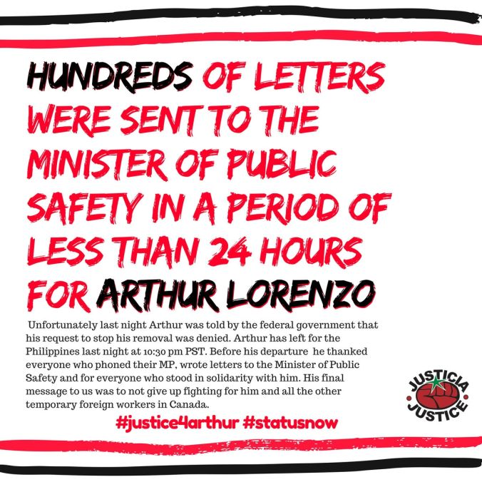 Thank-you message to supporters for sending letters of solidarity for Arthur Lorenzo, calling for his deportation to be cancelled.